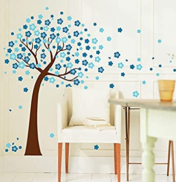 BIBITIME Blue Sakura Flower Wall Sticker Cherry Blossom Tree Wall Decal  U0026quot;I Love Youu0026quot