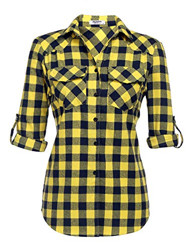 Womens Tartan Plaid Flannel Shirts, Roll up Sleeve Casual Boyfriend Button Down Gingham Checkered Shirt