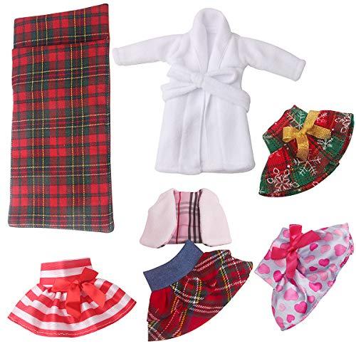 SPOFEW7 개 산타 옷 의류 ELF 인형 옷 액세서리 크리스마스 설정를 위한 요정 인형을 포함한 드레스 솜털 조끼 스커트 잠옷(인형을 포함하지 않)