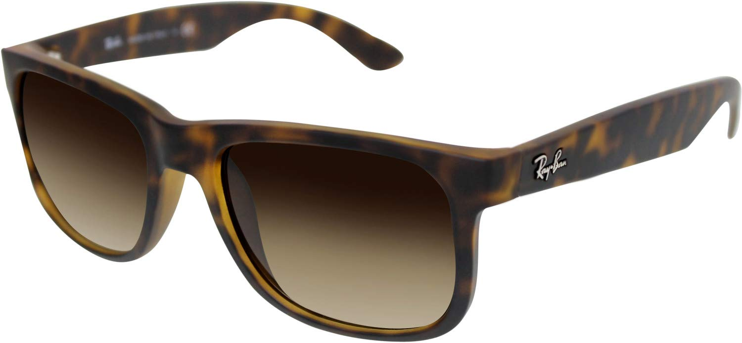 RAY-BAN RB4165 Justin Rectangular Sunglasses, Rubber Light Havana/Brown Gradient, 51 mm by RAY-BAN