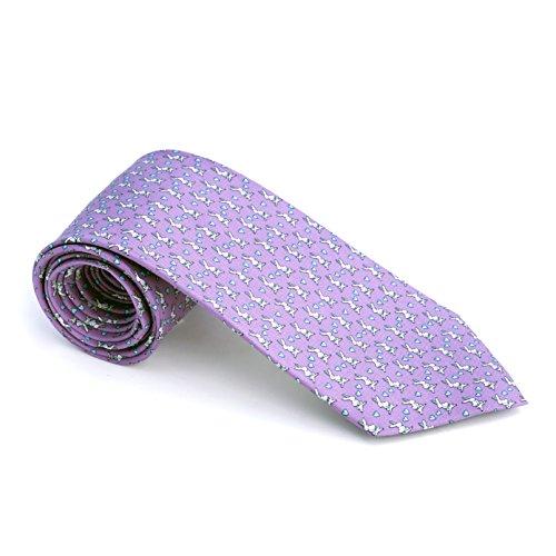 - Kings and Wolves Men's 100% Silk Neckties Bunny Printed Tie (Purple)