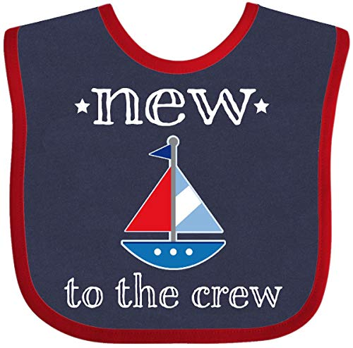 - Inktastic - Baby Boy New To The Crew Sailboat Baby Bib Navy and Red 2ae7d