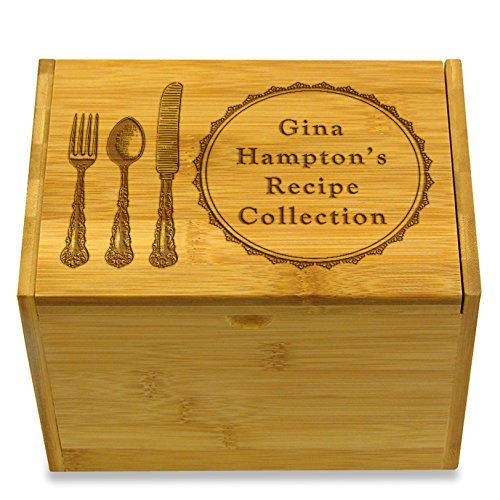 4x6in Recipe Box by Cookbook People Bamboo for Recipe Index Cards Personalized Engraved with Name (Silverware Bamboo)