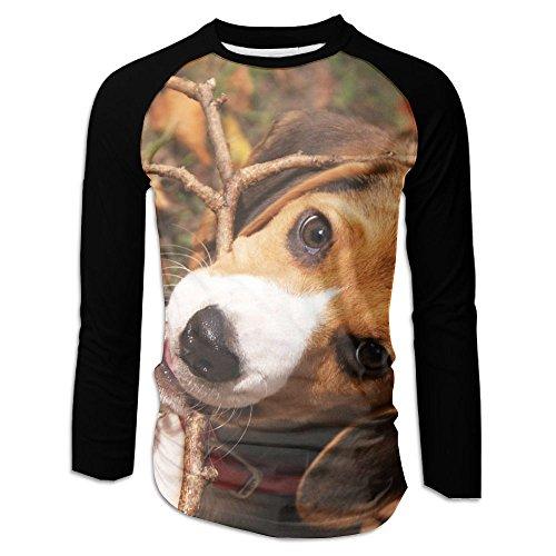 Cute Beagle Dog Puppy Mens Fashion Long Sleeve Raglan T-shirt Baseball Pullover Picture