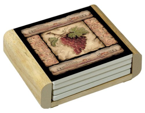 CounterArt Tuscan Collage Design Square Absorbent Coasters in Wooden Holder, Set of 4 ()