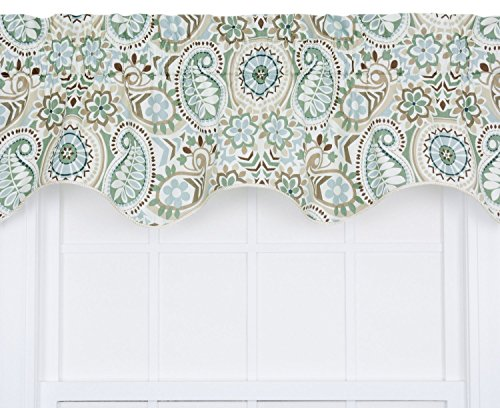 Ellis Curtain Paisley Prism Jacobean Floral Print Lined Duchess Filler Valance, 50 by 15-Inch, Latte
