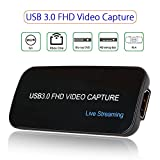 Game Capture HDMI USB 3.0 FHD Drive-free 4K 1080P 60FPS Live Streaming Video Box Black Superior Low Latency Technology For PS3 PS4 Wii Support XSplit NS (YK752 4k 30FPS)