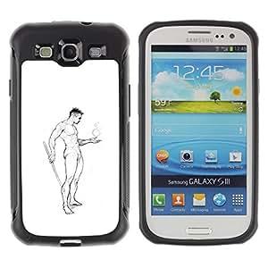 Suave TPU Caso Carcasa de Caucho Funda para Samsung Galaxy S3 I9300 / Nude Man Body Pencil Art Drawing Masculine / STRONG