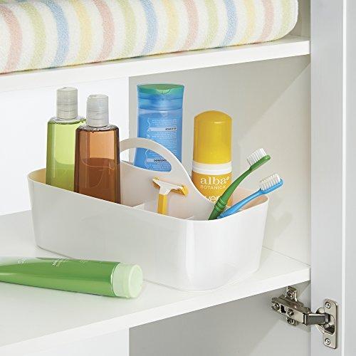mDesign Bathroom Shower Caddy Tote for Shampoo, Soap, Razors - Medium, White