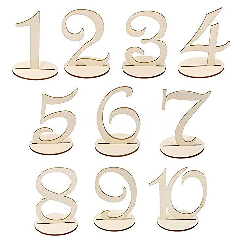 1-20 Wooden Wedding Table Stands for Anniversary Birthday Graduation Party Decoration, Paintable by Elehere (Image #3)