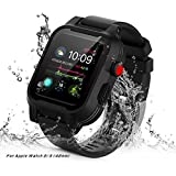 AIUERU Waterproof Apple Watch Case with Resilient Shock Absorption for 42mm Apple Watch Series 3 / Series2 / with 2 Soft Silicone Watch Band - Black