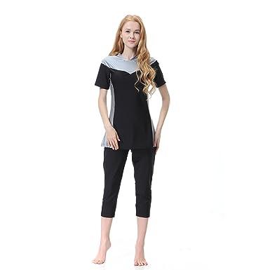 79bb2c736c CaptainSwim Women s Modest Swimsuits Muslim Swimwear Hijab Swimsuit Islamic  Short Sleeve Swimming Sets (Gray
