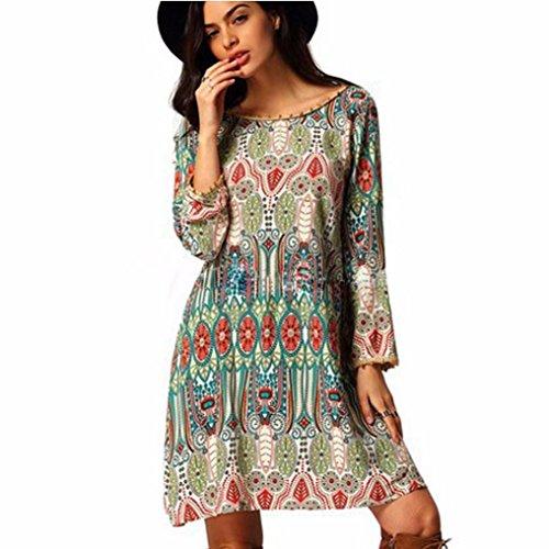 Sumen Women Fashion Loose Round Neck Dress (Green, XL)