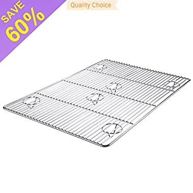Super Kitchen New Premium 100% Stainless Steel Cooling Rack Baking Rack Oven Dish Rack For Roasting Sheet Pan Grilling and Baking Mat 12 ×17 inches