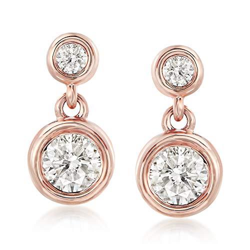 Ross-Simons 0.75 ct. t.w. Diamond Double-Bezel Drop Earrings in 14kt Rose Gold