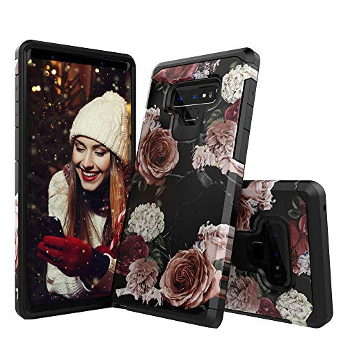 Molota Case for Samsung Galaxy Note 9,Dual Layer Anti-Scratch Series Hard PC+TPU Hybrid Protective Case for Samsung Galaxy Note 9 Marble Flower