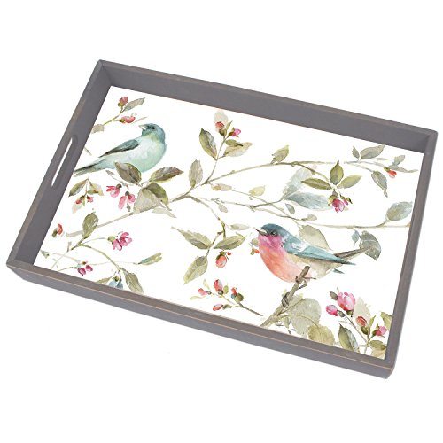 CounterArt 18-Inch Wooden Butler-Style Tray, Birds and Roses