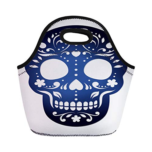 Semtomn Lunch Tote Bag Ornamental Sugar Skull for Laser Cutting Calavera Halloween Fancy Reusable Neoprene Insulated Thermal Outdoor Picnic Lunchbox for Men -