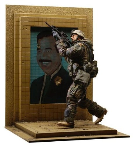 - U.S. Army 3rd I.D. Action Figure w Bullet Riddled Saddam Hussein Mosaic Base by Dusty Trail Toys