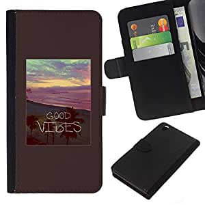Stuss Case / Funda Carcasa PU de Cuero - Buena sensaci¨®n Palms Beach Sunset Summer - HTC DESIRE 816