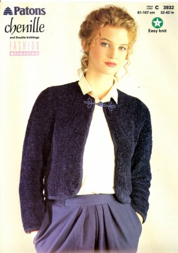Chenille Knitting Patterns (Knitting Pattern Lady's Chenille & DK Short Jacket To Knit Women's Patons 3932)