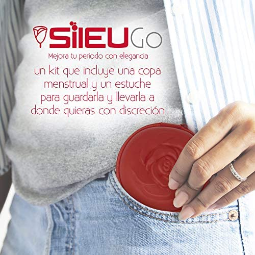 Pack Sileu Go: Copa menstrual Rose - Modelo de iniciación - Alternativa ecológica, natural a tampones y compresas - Talla L, Rojo, Flexibilidad Sport ...