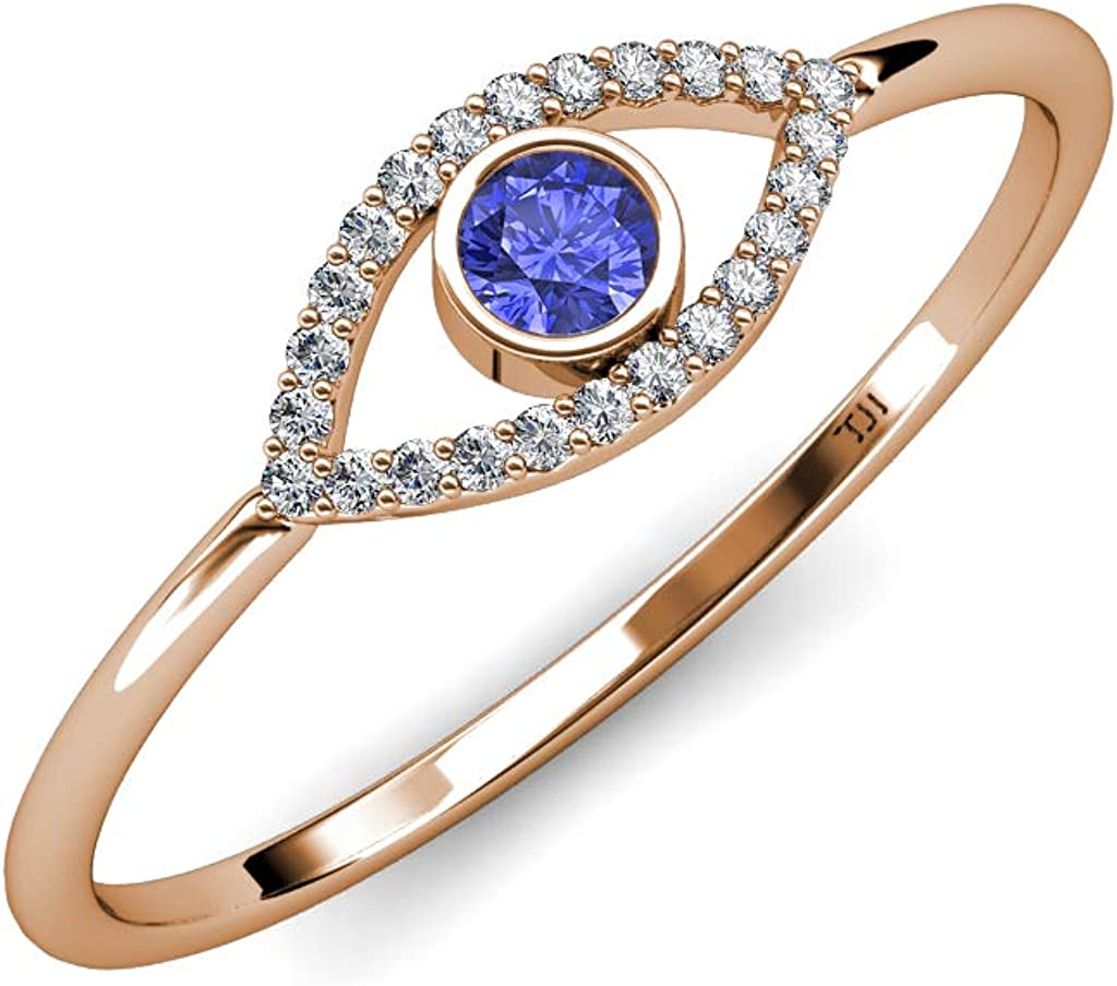 2 Ct Round Cut Blue Sapphire Evil Eye Halo Engagement Ring 14K White Gold Over