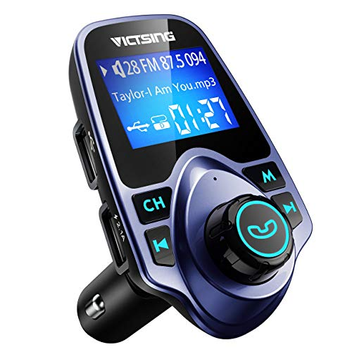 VicTsing Bluetooth FM Transmitter for Car, Wireless Bluetooth Radio Transmitter Adapter with Hand-Free Calling and 1.44 LCD Display, Music Player Support TF Card USB Flash Drive AUX- Blue