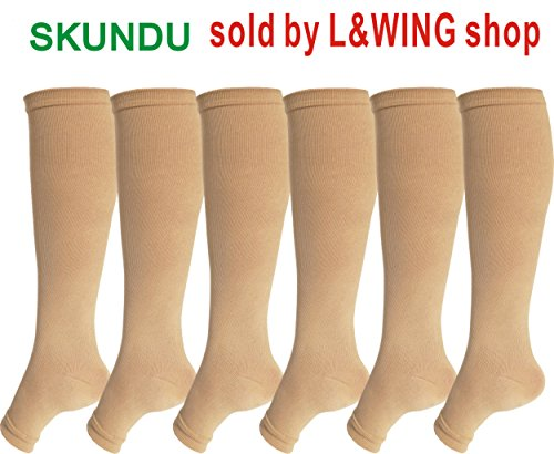 Open Toe Graduate Compression Socks 6 Pairs For Women& Men 15-20 mmHg Knee High Toeless Support Stockings Hose Athletic Fit for Running Nurses Travel Pregnancy and Recovery(S/M, - Toe High Support Knee