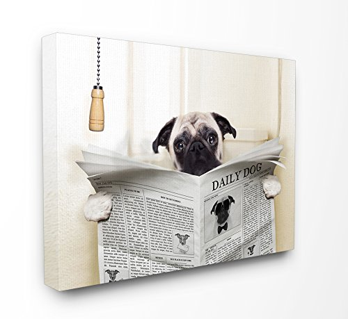 Stupell Industries Pug Reading Newspaper in Bathroom Stretched Canvas Wall Art, 16 x 1.5 x 20, Proudly Made in USA