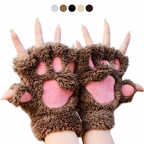 AStorePlus Cutest Plush Gloves, Winter Bear Fluffy Cat Paw Claw Glove Soft Fingerless Gloves Fleece Mittens, Light Coffee