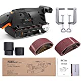 TACKLIFE 3 ×18-Inch Belt Sander with 13Pcs Sanding belt, Bench Sander with Screw Clamps, Vacuum Adapters - PSFS1A