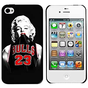 Marilyn Monroe Chicago Bulls Michael Jordan Jersey Protective Hard Plastic Case for Iphone 4/4s