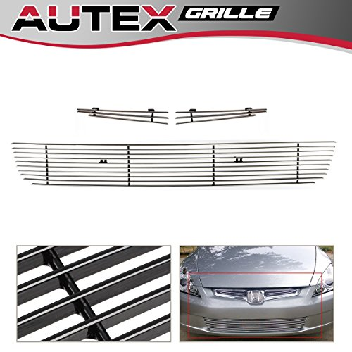 - AUTEX Bolt Over Horizontal Billet Grille Combo Insert Compatible With 2003 2004 2005 Honda Accord Sedan Grill H67956A