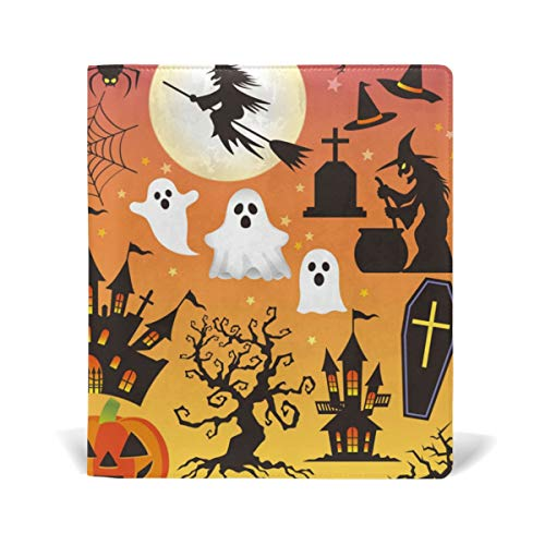 ColourLife Leather Book Covers for Textbooks Hardcovers Halloween Symbols School Books Protector 9 x 11 Inches ()