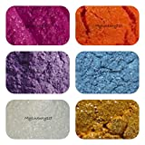 Sample Mica Pigments Lot of 6 Micas Soap & Cosmetic Product Making Powder Pack Pink Purple White Blue Yellow Orange 1g Shimmers