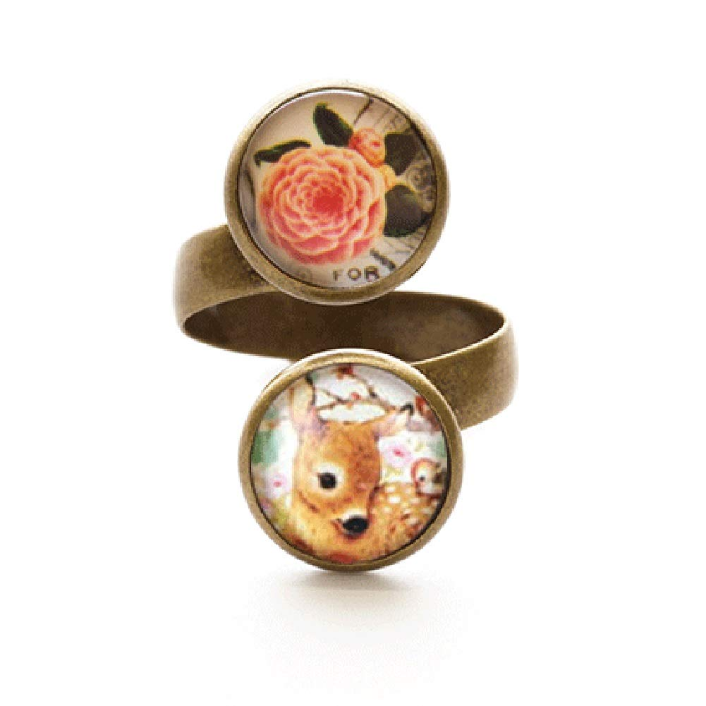 Beijo Brasil Fawn and Rose Cute Double Dome Wrap Around Ring Artisan Made in USA