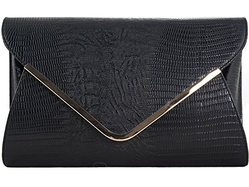 HANDBAG RETRO EVENING Black NEW SKIN LADIES PROM CLUTCH PURSE NEON PARTY SNAKE WEDDING ZqqdAgvw