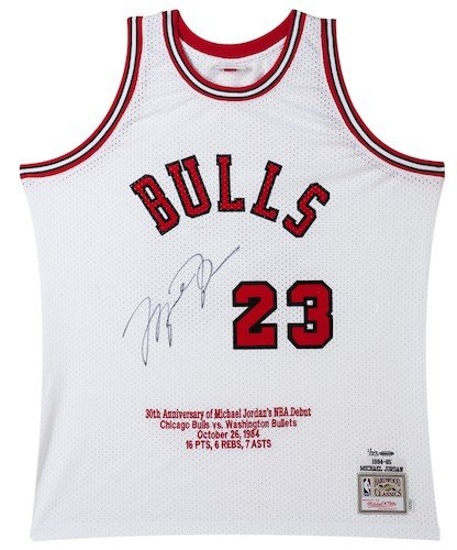 """ba9ccbc2247 Image Unavailable. Image not available for. Color: MICHAEL JORDAN  Signed""""30th Anniversary"""" Rookie Stat Jersey UDA LE 23"""