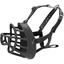 Baskerville Ultra Basket Dog Muzzle – The Company of Animals - Adjustable and Comfortable Secure Fit - Durable Lightweight Rubber - Stops Biting, safe retraining of aggressive dogs- Size-4, Black