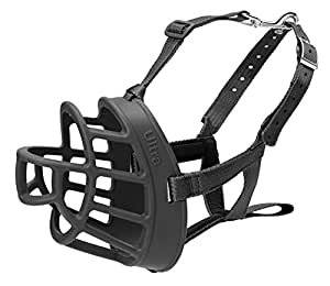 Baskerville Ultra Basket Dog Muzzle – The Company of Animals - Adjustable and Comfortable Secure Fit - Durable Lightweight Rubber - Stops Biting, safe retraining of aggressive dogs- Size-5, Black