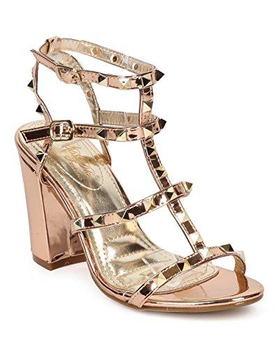 Alrisco Kvinnor Dubbade Blockera Häl Sandal - Pyramid Stud Chunky Häl - Strappy Häl Sandal - Dressat Formella Häl - Hb24 Genom Dbdk Samling Steg Guld Metallic