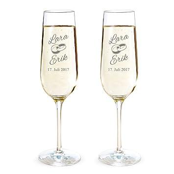 AMAVEL 2er Set Sektglas mit Gravur zur Hochzeit – Ringe – Personalisiert  mit Namen und Datum – Individuelle Sektgläser – Sekttuplen – ...