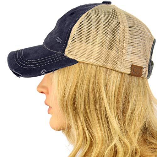(CC Everyday Distressed Trucker Mesh Summer Vented Baseball Sun Cap Hat)