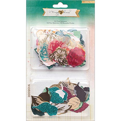 American Crafts Maggie Holmes Open Book Cardstock Die-Cuts 10-Floral Ephemera Flowers and Leaves 683580