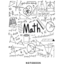 Math Notebook: 1/2 inch Square Graph paper pages and White Paper