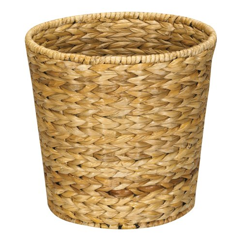 Household Essentials ML-6692 Woven Water Hyacinth Wicker Waste Basket - For Bathrooms & Bedrooms - Natural (A Wicker)