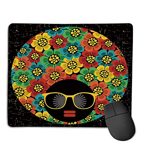 Mouse Pad Custom,Non-Slip Rubber Mousepad,70s Party Decorations,Abstract Woman Portrait Hair Style with Flowers Sunglasses Lips Graphic Decorative,Multicolor,for Laptop, Computer, PC, Keyboard,H9.8X ()