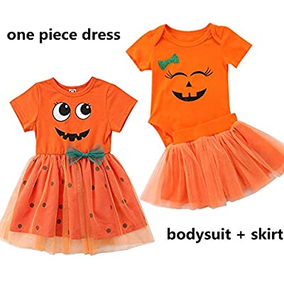 Baby Girl Halloween Costumes Pumpkin Smiles Short Sleeve Bodysuit Tutu Skirt Bowknot Dress Outfits 0-5 Years