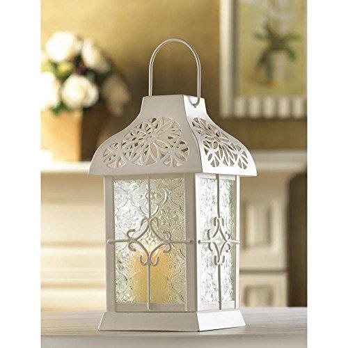 Daisy Gazebo Small Candle Lantern Creamy White Lacy ()